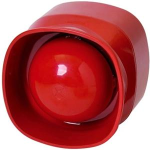 analoog adresseerbare zelfstandige sirene voor gebruik binnenshuis, rood - Bedraad - 33 V DC - 101.3 dB(A) - Hoorbaar - Rood