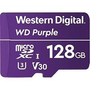WD Purple WDD128G1P0A - carte mémoire flash - 128GB - carte mémoire microSDXC microSDXC 128GB classe vidéo V30 / UHS-I U3 pourpre